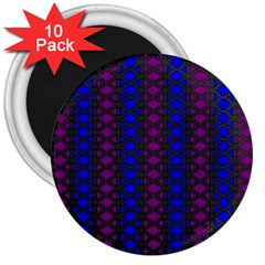 Diamond Alt Blue Purple Woven Fabric 3  Magnets (10 Pack)  by AnjaniArt