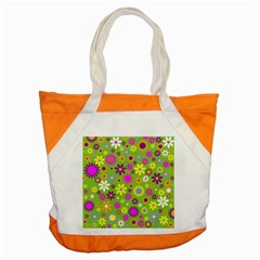 Colorful Floral Flower Accent Tote Bag by AnjaniArt