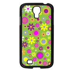 Colorful Floral Flower Samsung Galaxy S4 I9500/ I9505 Case (black) by AnjaniArt