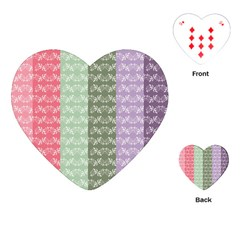 Digital Print Scrapbook Flower Leaf Color Green Gray Purple Blue Pink Playing Cards (heart)  by AnjaniArt