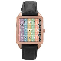 Digital Print Scrapbook Flower Leaf Color Green Red Purple Yellow Blue Pink Black Brown Rose Gold Leather Watch  by AnjaniArt