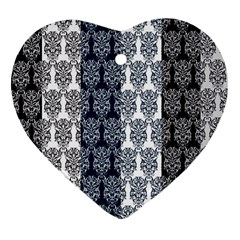Digital Print Scrapbook Flower Leaf Colorgray Black Purple Blue Heart Ornament (two Sides) by AnjaniArt