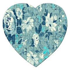 Floral Pattern Wallpaper Jigsaw Puzzle (heart) by AnjaniArt