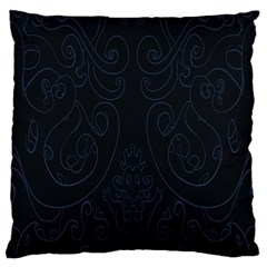 Flower Floral Blue Black Large Flano Cushion Case (one Side) by AnjaniArt