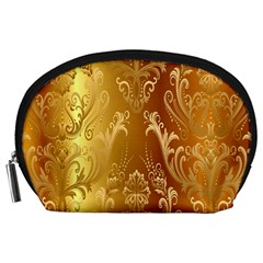Golden Flower Vintage Gradient Resolution Accessory Pouches (large)  by AnjaniArt