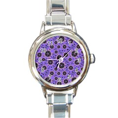 Flower Floral Purple Leaf Background Round Italian Charm Watch by AnjaniArt