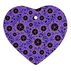 Flower Floral Purple Leaf Background Ornament (heart) by AnjaniArt