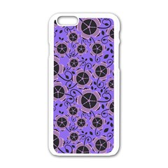 Flower Floral Purple Leaf Background Apple Iphone 6/6s White Enamel Case by AnjaniArt