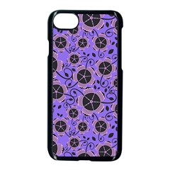Flower Floral Purple Leaf Background Apple Iphone 7 Seamless Case (black) by AnjaniArt