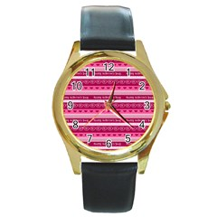 Happy Valentine Day Love Heart Pink Red Chevron Wave Round Gold Metal Watch by AnjaniArt
