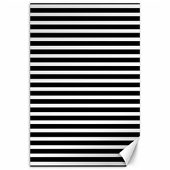 Horizontal Stripes Black Canvas 24  X 36  by AnjaniArt