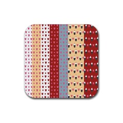 Love Heart Cake Valentine Red Gray Blue Pink Rubber Square Coaster (4 Pack)  by AnjaniArt