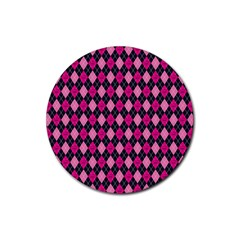 Pink Baby Showers Skull Chevron Wave Pink Purple Black Pink Rubber Round Coaster (4 Pack)  by AnjaniArt