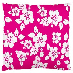 Pink Hawaiian Flower Standard Flano Cushion Case (two Sides) by AnjaniArt