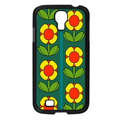 Retro Flowers Floral Rose Samsung Galaxy S4 I9500/ I9505 Case (black) by AnjaniArt