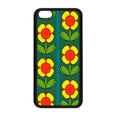 Retro Flowers Floral Rose Apple Iphone 5c Seamless Case (black) by AnjaniArt