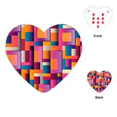 Abstract Background Geometry Blocks Playing Cards (heart)  by Amaryn4rt