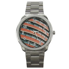 Architecture Building Glass Pattern Sport Metal Watch by Amaryn4rt