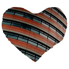 Architecture Building Glass Pattern Large 19  Premium Flano Heart Shape Cushions by Amaryn4rt