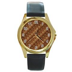 Background Structure Round Gold Metal Watch