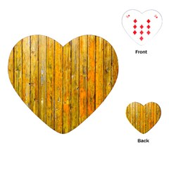 Background Wood Lath Board Fence Playing Cards (heart)  by Amaryn4rt