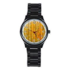 Background Wood Lath Board Fence Stainless Steel Round Watch by Amaryn4rt