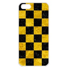Square1 Black Marble & Yellow Marble Apple Iphone 5 Seamless Case (white) by trendistuff