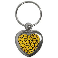 Skin1 Black Marble & Yellow Marble Key Chain (heart) by trendistuff