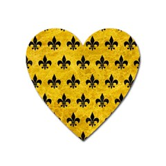 Royal1 Black Marble & Yellow Marble Magnet (heart) by trendistuff