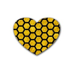 Hexagon2 Black Marble & Yellow Marble (r) Rubber Heart Coaster (4 Pack) by trendistuff