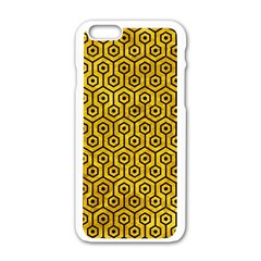 Hexagon1 Black Marble & Yellow Marble (r) Apple Iphone 6/6s White Enamel Case by trendistuff