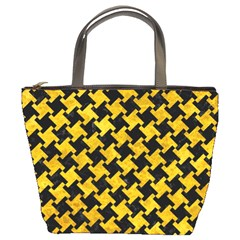Houndstooth2 Black Marble & Yellow Marble Bucket Bag by trendistuff