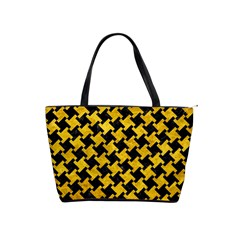 Houndstooth2 Black Marble & Yellow Marble Classic Shoulder Handbag by trendistuff