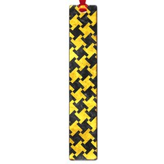 Houndstooth2 Black Marble & Yellow Marble Large Book Mark by trendistuff