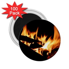 Bonfire Wood Night Hot Flame Heat 2 25  Magnets (100 Pack)