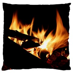 Bonfire Wood Night Hot Flame Heat Large Cushion Case (two Sides) by Amaryn4rt