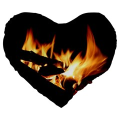 Bonfire Wood Night Hot Flame Heat Large 19  Premium Heart Shape Cushions by Amaryn4rt