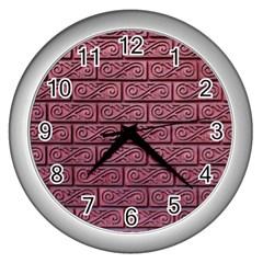 Brick Wall Brick Wall Wall Clocks (silver)  by Amaryn4rt