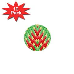 Christmas Geometric 3d Design 1  Mini Buttons (10 Pack)  by Amaryn4rt