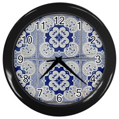Ceramic Portugal Tiles Wall Wall Clocks (Black)