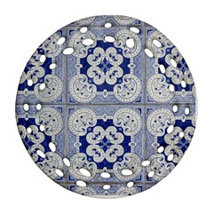 Ceramic Portugal Tiles Wall Round Filigree Ornament (two Sides) by Amaryn4rt