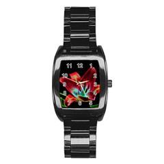 Flower Pattern Design Abstract Background Stainless Steel Barrel Watch by Amaryn4rt