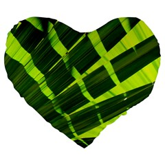 Frond Leaves Tropical Nature Plant Large 19  Premium Flano Heart Shape Cushions by Amaryn4rt