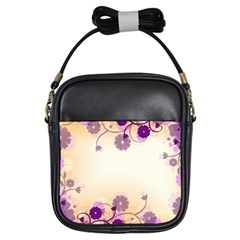 Floral Background Girls Sling Bags by Amaryn4rt