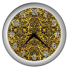 Damask2 Black Marble & Yellow Marble (r) Wall Clock (silver) by trendistuff