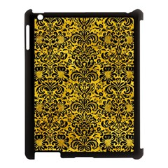 Damask2 Black Marble & Yellow Marble (r) Apple Ipad 3/4 Case (black) by trendistuff