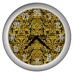Damask2 Black Marble & Yellow Marble Wall Clock (silver) by trendistuff