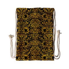 Damask2 Black Marble & Yellow Marble Drawstring Bag (small) by trendistuff