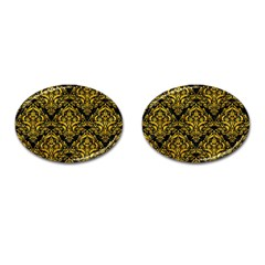 Damask1 Black Marble & Yellow Marble Cufflinks (oval) by trendistuff