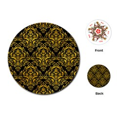 Damask1 Black Marble & Yellow Marble Playing Cards (round) by trendistuff